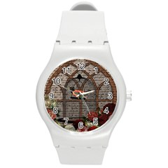 Vintage Bird In The Cage Round Plastic Sport Watch (m) by Valentinaart