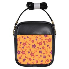 Floral Pattern Girls Sling Bags by Valentinaart