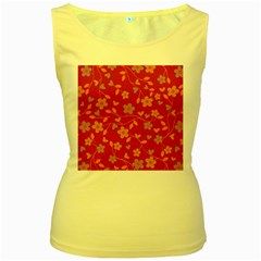 Floral pattern Women s Yellow Tank Top