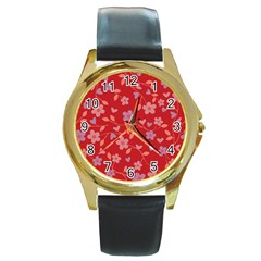 Floral pattern Round Gold Metal Watch