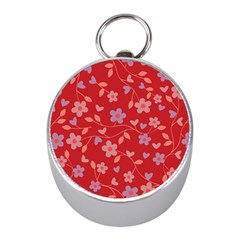 Floral pattern Mini Silver Compasses