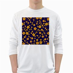Floral Pattern White Long Sleeve T Shirts