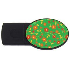 Floral Pattern Usb Flash Drive Oval (2 Gb) by Valentinaart