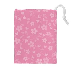 Floral Pattern Drawstring Pouches (extra Large) by Valentinaart