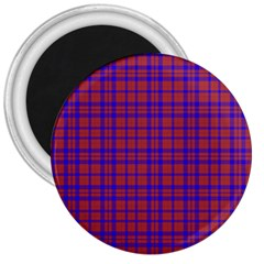 Pattern Plaid Geometric Red Blue 3  Magnets by Simbadda