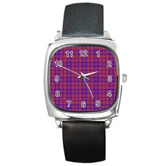 Pattern Plaid Geometric Red Blue Square Metal Watch by Simbadda