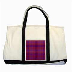 Pattern Plaid Geometric Red Blue Two Tone Tote Bag by Simbadda