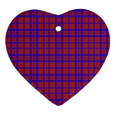 Pattern Plaid Geometric Red Blue Heart Ornament (two Sides) by Simbadda