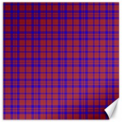 Pattern Plaid Geometric Red Blue Canvas 12  X 12   by Simbadda