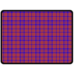Pattern Plaid Geometric Red Blue Fleece Blanket (large)  by Simbadda