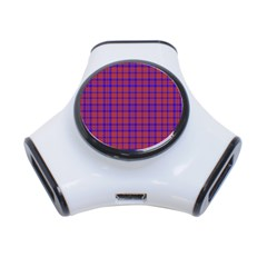 Pattern Plaid Geometric Red Blue 3 Port Usb Hub by Simbadda