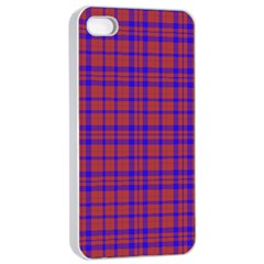 Pattern Plaid Geometric Red Blue Apple Iphone 4/4s Seamless Case (white) by Simbadda