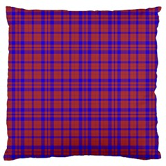 Pattern Plaid Geometric Red Blue Large Cushion Case (two Sides) by Simbadda