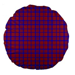 Pattern Plaid Geometric Red Blue Large 18  Premium Round Cushions by Simbadda