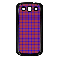 Pattern Plaid Geometric Red Blue Samsung Galaxy S3 Back Case (black) by Simbadda