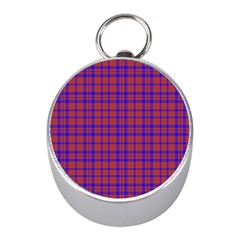 Pattern Plaid Geometric Red Blue Mini Silver Compasses
