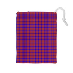 Pattern Plaid Geometric Red Blue Drawstring Pouches (large)  by Simbadda