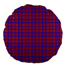 Pattern Plaid Geometric Red Blue Large 18  Premium Flano Round Cushions by Simbadda