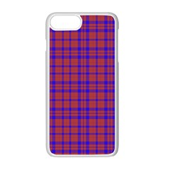 Pattern Plaid Geometric Red Blue Apple Iphone 7 Plus White Seamless Case by Simbadda