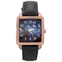 Large Magellanic Cloud Rose Gold Leather Watch  by SpaceShop