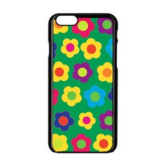 Floral Pattern Apple Iphone 6/6s Black Enamel Case