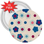 Floral pattern 3  Buttons (10 pack)  Front