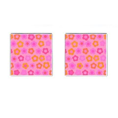 Pink Floral Pattern Cufflinks (square) by Valentinaart