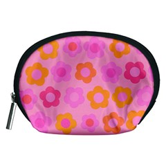Pink Floral Pattern Accessory Pouches (medium)  by Valentinaart