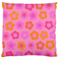 Pink Floral Pattern Large Flano Cushion Case (one Side) by Valentinaart