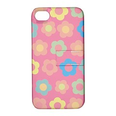 Floral Pattern Apple Iphone 4/4s Hardshell Case With Stand