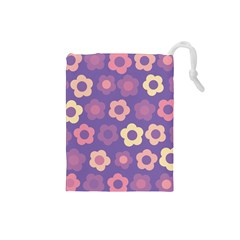 Floral Pattern Drawstring Pouches (small)  by Valentinaart