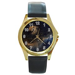 Seagull Nebula Round Gold Metal Watch by SpaceShop