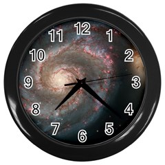 Whirlpool Galaxy And Companion Wall Clocks (black) by SpaceShop