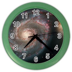 Whirlpool Galaxy And Companion Color Wall Clocks by SpaceShop
