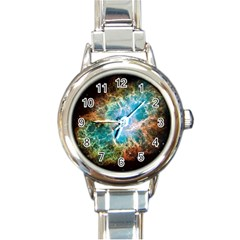 Crab Nebula Round Italian Charm Watch by SpaceShop