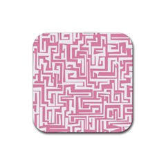 Pink Pattern Rubber Square Coaster (4 Pack)  by Valentinaart