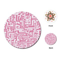 Pink Pattern Playing Cards (round)  by Valentinaart