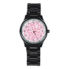 Pink Pattern Stainless Steel Round Watch by Valentinaart