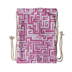 Pink Pattern Drawstring Bag (small) by Valentinaart