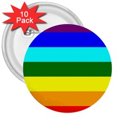 Rainbow 3  Buttons (10 Pack)  by Valentinaart