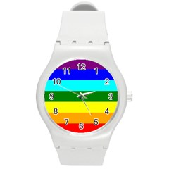 Rainbow Round Plastic Sport Watch (m) by Valentinaart