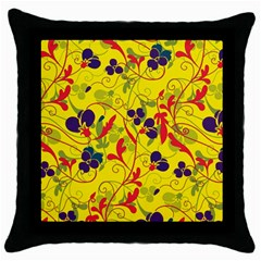 Floral Pattern Throw Pillow Case (black) by Valentinaart