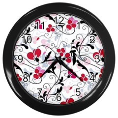 Floral Pattern Wall Clocks (black) by Valentinaart