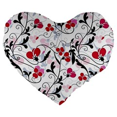 Floral Pattern Large 19  Premium Heart Shape Cushions by Valentinaart