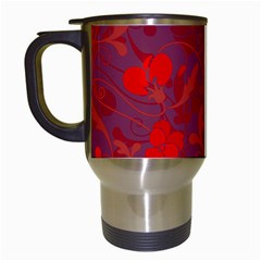 Red Floral Pattern Travel Mugs (white) by Valentinaart
