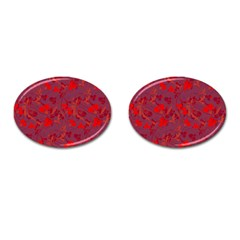 Red Floral Pattern Cufflinks (oval) by Valentinaart
