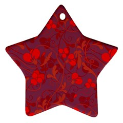 Red Floral Pattern Star Ornament (two Sides) by Valentinaart
