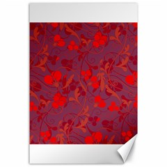 Red Floral Pattern Canvas 24  X 36  by Valentinaart
