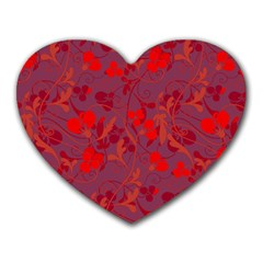 Red Floral Pattern Heart Mousepads by Valentinaart