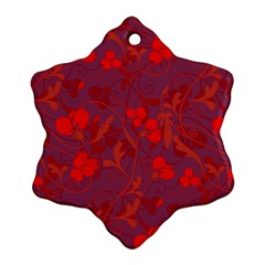 Red Floral Pattern Snowflake Ornament (two Sides) by Valentinaart